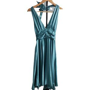 100% Silk Teal Halter Dress